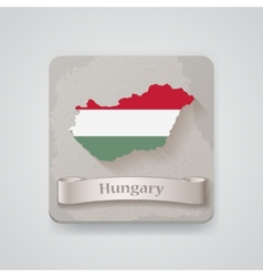 Icon of hungary map with flag vector
