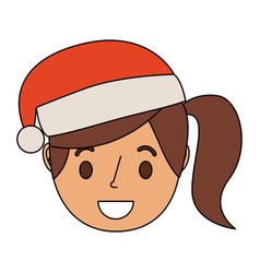 Little girl smiling wearing christmas hat vector