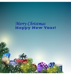 new year greeting card on blue background vector image