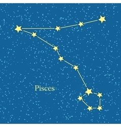 Pisces zodiac symbol on background of cosmic sky vector