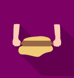 Rolling the dough icon in flat style isolated on vector