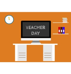 Screen with inscription happy teacher day vector