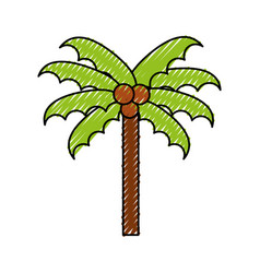 scribble beach palm cartoon vector image vector image