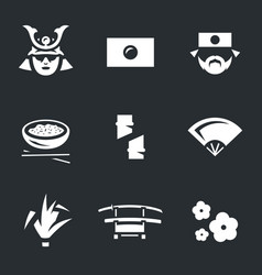 set of japan icons vector image vector image