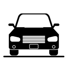 Silhouette car sedan vehicle transport icon vector