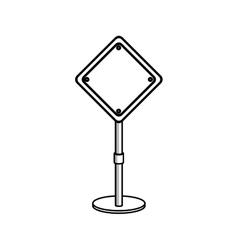 Silhouette road sign preventive icon vector