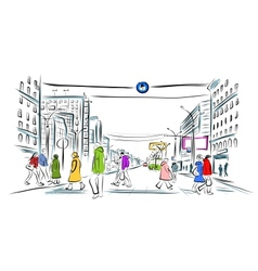 Sketch of street with pedestrians for your design vector image