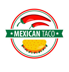 Taco logo icon isolated on white traditional vector
