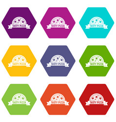 tasty pizza sign icon set color hexahedron vector image vector image