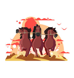 three horses in harness running vector image vector image