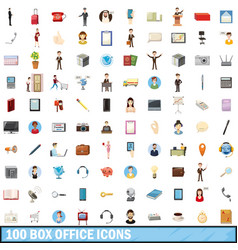 100 box office icons set cartoon style vector
