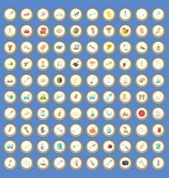 100 metier icons set cartoon vector image vector image