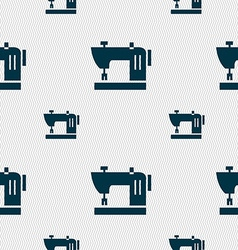 Sewing machine icon sign Seamless pattern with vector image