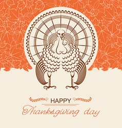 Turkey bird for thanksgiving day card vector