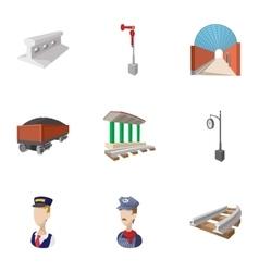 Railway transport icons set cartoon style vector