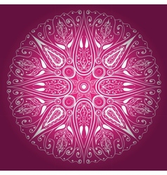 Ornamental round lace freehand vector