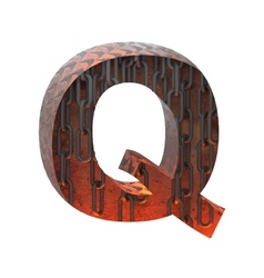 Hot metal cutted figure q paste to any background vector