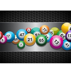 Bingo balls on brushed metallic panel vector