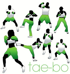 tae bo silhouettes vector image