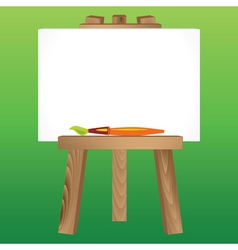 Wooden easel canvas paintbrush vector