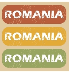 Vintage romania stamp set vector