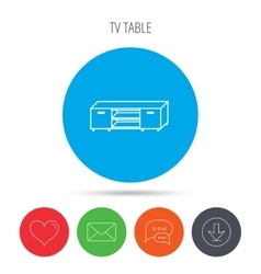 Tv table stand icon television furniture sign vector