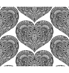 Seamless pattern with hand drawn ornate hearts vector