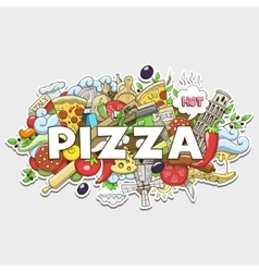 Pizza hand drawn title design vector
