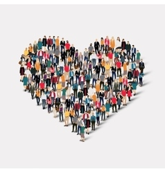 Group people form heart love vector