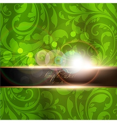 Seamless green floral spring wallpaper with banner vector