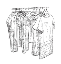 Wardrobe sketch hand drawn clothes shop vector