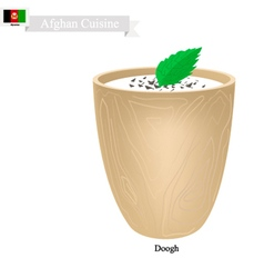 Doogh or afghan fermented milk with sour and spice vector