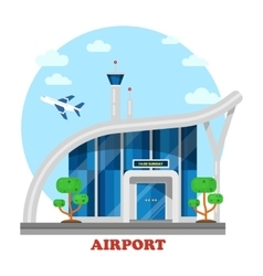 Airport building with flying airplane over tower vector