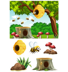 bees flying around beehive in park vector image vector image