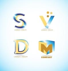 Blue yellow letter logo set vector