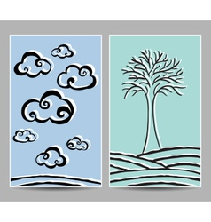 Card clouds and tree vector
