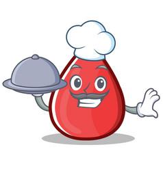 Chef blood drop cartoon mascot character vector