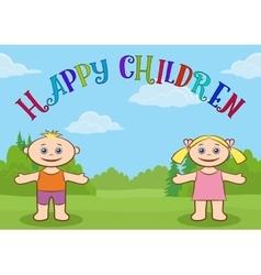 Children on Forest Glade vector image