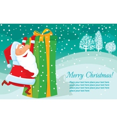 Christmas background with gift and Santa vector image vector image