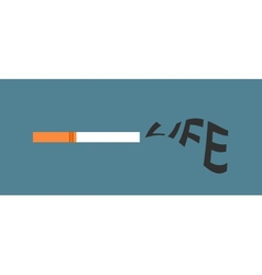 Cigarette with life word as smoke vector