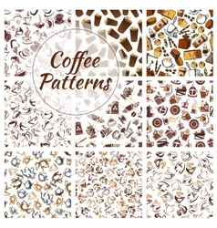 Coffee beans cups mills seamless patterns vector