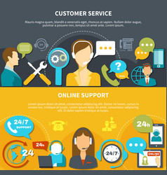 customer service horizontal banners vector image
