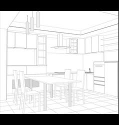 facade kitchen sketch interior vector image vector image