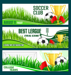football club soccer sport league banners vector image