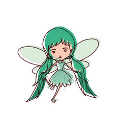 girly fairy flying with wings and pigtails vector image