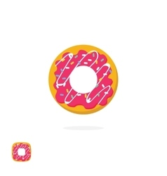 Glazed iced donut icon isolated on white vector image vector image