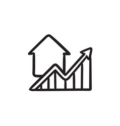 Graph of real estate prices growth sketch icon vector