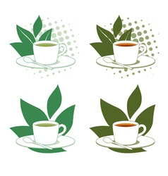 Green and Black Tea vector image vector image