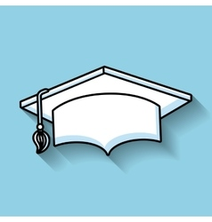 Hat graduation line icon vector