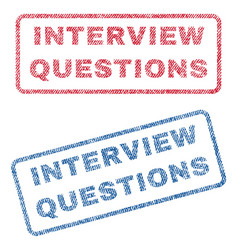 Interview questions textile stamps vector